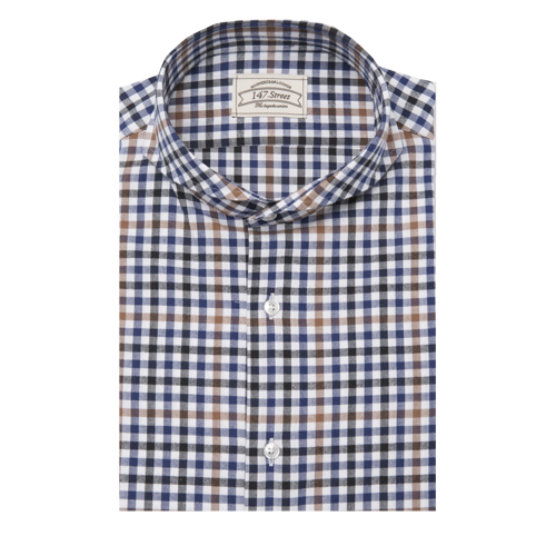 01 GINGHAM HERRING BONE CHECK BROWN/BLUE/BLACK