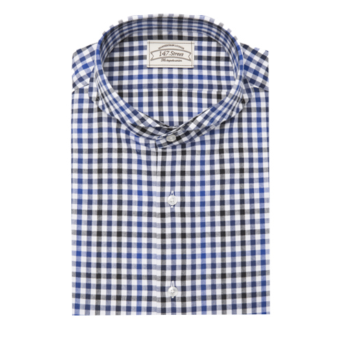 01 GINGHAM HERRINGBONE CHECK BLUE/BLACK